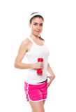 Attractive fitness girl workingout. Isolated on white stock photo