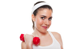 Attractive fitness girl workingout. Isolated on white stock photos