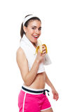 Attractive fitness girl workingout. Isolated on white royalty free stock photography