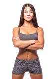 Attractive fitness woman, trained female body. Royalty Free Stock Images