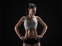 Attractive fitness woman, trained female body, lifestyle portrai Royalty Free Stock Photography