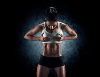Attractive fitness woman, trained female body, lifestyle portrai royalty free stock images