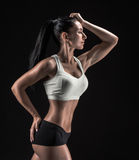 Attractive fitness woman, trained female body, lifestyle portrai Stock Photos