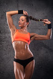 Attractive fitness woman. Trained female body, lifestyle portrait, caucasian model Royalty Free Stock Images