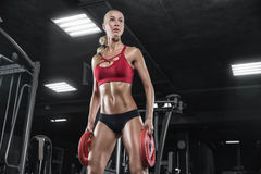 Attractive fitness woman, trained female body, lifestyle portrait, caucasian model Stock Photography