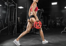Attractive fitness woman, trained female body, lifestyle portrait, caucasian model royalty free stock photography