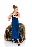 Attractive flautist Royalty Free Stock Photography