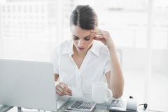 Attractive focused businesswoman working sitting at her desk Stock Image