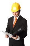 Attractive foreman in hardhat Royalty Free Stock Images