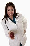 Attractive friendly thirties hispanic woman doctor Stock Images