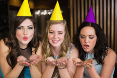 Attractive friends celebrating a birthday Royalty Free Stock Image