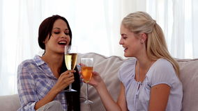 Attractive friends chatting with flutes of champagne stock footage