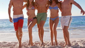 Attractive friends dancing together at the beach stock video footage