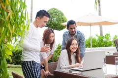 Attractive Friends Hanging out together outdoor Royalty Free Stock Image