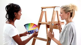 Attractive friends wondering what colour choose for the wall stock video footage