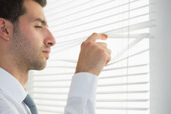 Attractive frowning businessman spying through roller blind Stock Photography