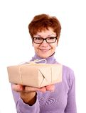 Happy mature woman with surprise, isoliert Royalty Free Stock Photography