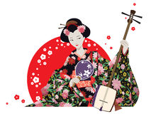 Attractive Geisha Wearing Kimono With Fan And Shamisen. Vector illustration. Attractive japanese girl wearing kimono holding fan and shamisen with red sun  and Stock Photo