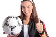 Attractive german soccer fan Royalty Free Stock Photography