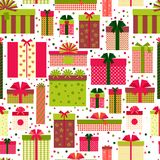Attractive Gift Boxes Pattern on White Background Royalty Free Stock Photos
