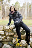 Attractive girl. Cute brunette girl in park Stock Images