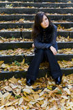 Attractive girl. Cute brunette girl in park Royalty Free Stock Photos