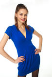 Attractive girl. In blue dress posing Royalty Free Stock Images