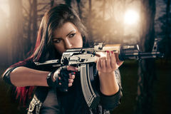 Attractive Girl Aiming Stock Image