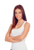 Attractive girl arms crossed Royalty Free Stock Photos