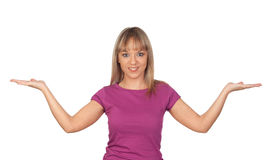 Attractive girl with the arms extended Royalty Free Stock Photography