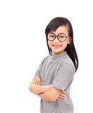 Attractive girl. Asian girl standing with arms folded isolated on a white background Royalty Free Stock Photo