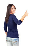 Attractive girl backward saying Ok Royalty Free Stock Images