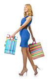 Attractive girl with  bags Royalty Free Stock Photos