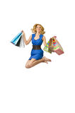 Attractive girl with  bags Stock Image