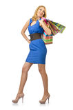 Attractive girl with  bags Royalty Free Stock Image