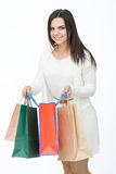 Attractive girl with bags Stock Photos