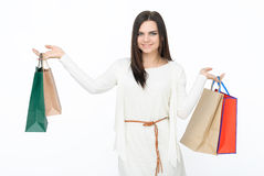 Attractive girl with bags Royalty Free Stock Photo