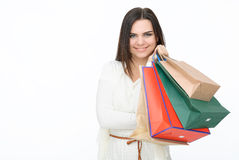 Attractive girl with bags Royalty Free Stock Images
