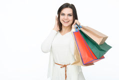 Attractive girl with bags Stock Images