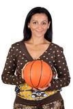 Attractive girl with a basketball Royalty Free Stock Photos