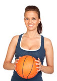 Attractive girl with basketball Royalty Free Stock Photos