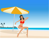 Attractive girl on beach. Attractive girl on exotic beach vector Royalty Free Stock Image