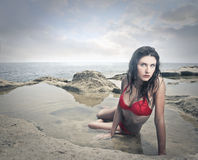 Attractive girl at the beach Stock Photo