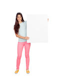 Attractive girl with blank placard Stock Photography