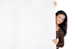 Attractive girl with blank poster Royalty Free Stock Image