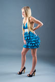 Attractive girl in blue dress, Royalty Free Stock Photos