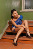 Attractive girl in a blue dress Stock Photo