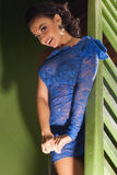 Attractive girl in a blue dress Royalty Free Stock Image