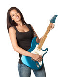 Attractive girl with a blue electric guitar. Isolated on white background Royalty Free Stock Images