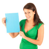 Attractive girl with blue paper un her hands Royalty Free Stock Photography